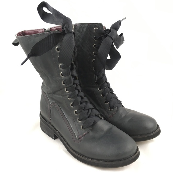 48af6d5e238 Kensie Shoes - Dark gray combat boots leather ribbon lace up Boss